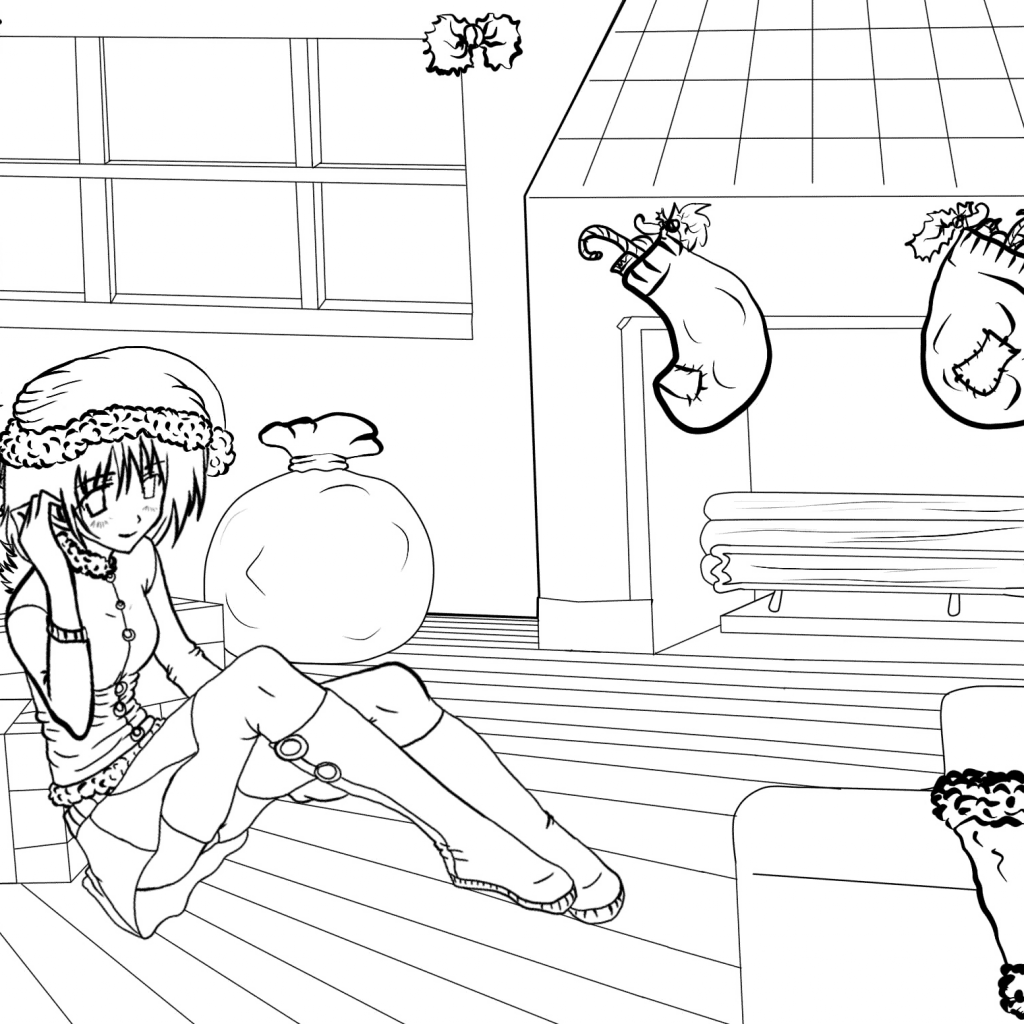 Christmas Coloring Pages Set With Anime Scenes By Gabriela Gogonea Page Free