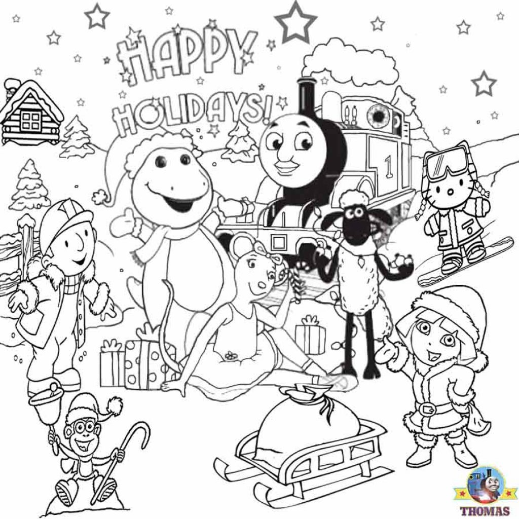 Christmas Coloring Pages Set With FREE For Kids Printable Thomas Snow