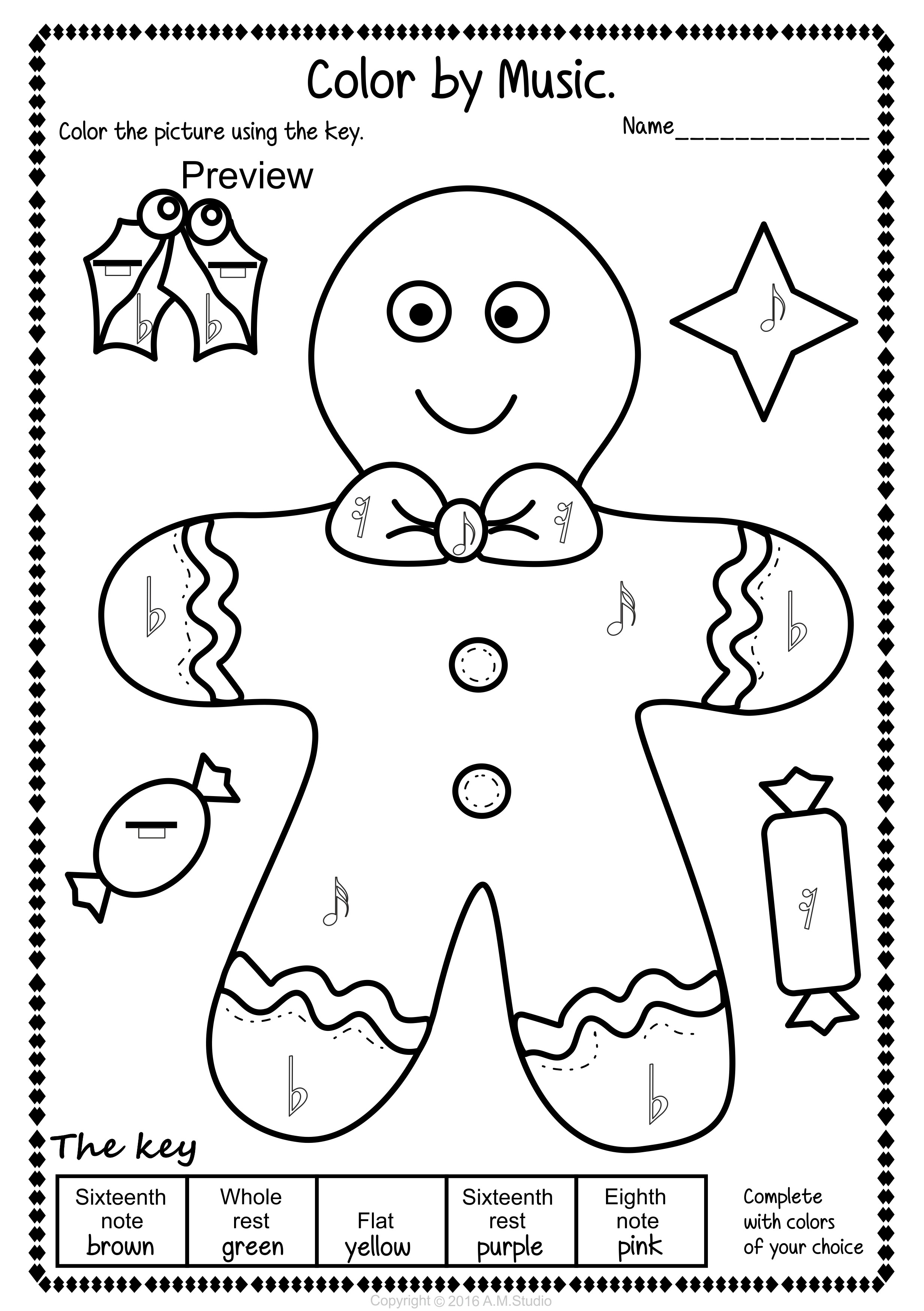 Christmas Coloring Pages Set With Music Color Simple And Fun Activity For