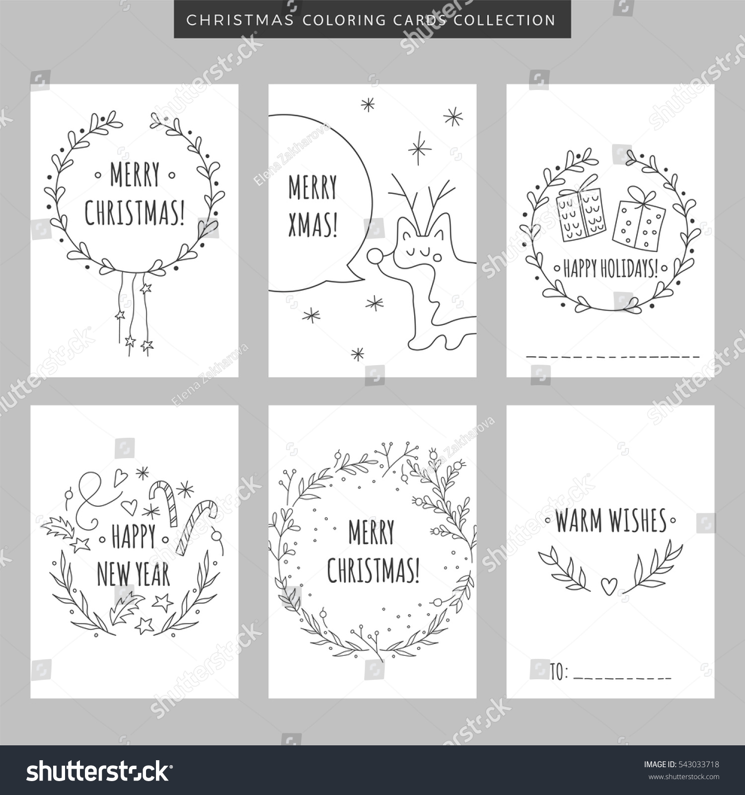 Christmas Coloring Pages Set With New Year Greeting Cards Stock Vector Royalty Free