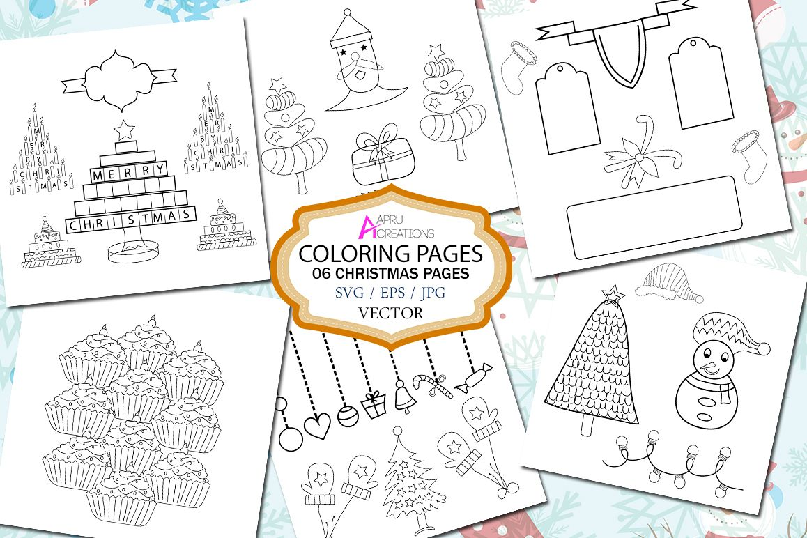 Christmas Coloring Pages Set With Page Printable Vector
