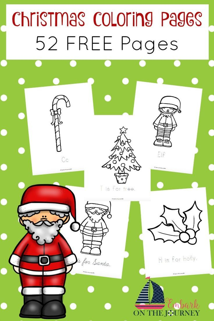 Christmas Coloring Pages Set With Pinterest Holidays Free And Preschool