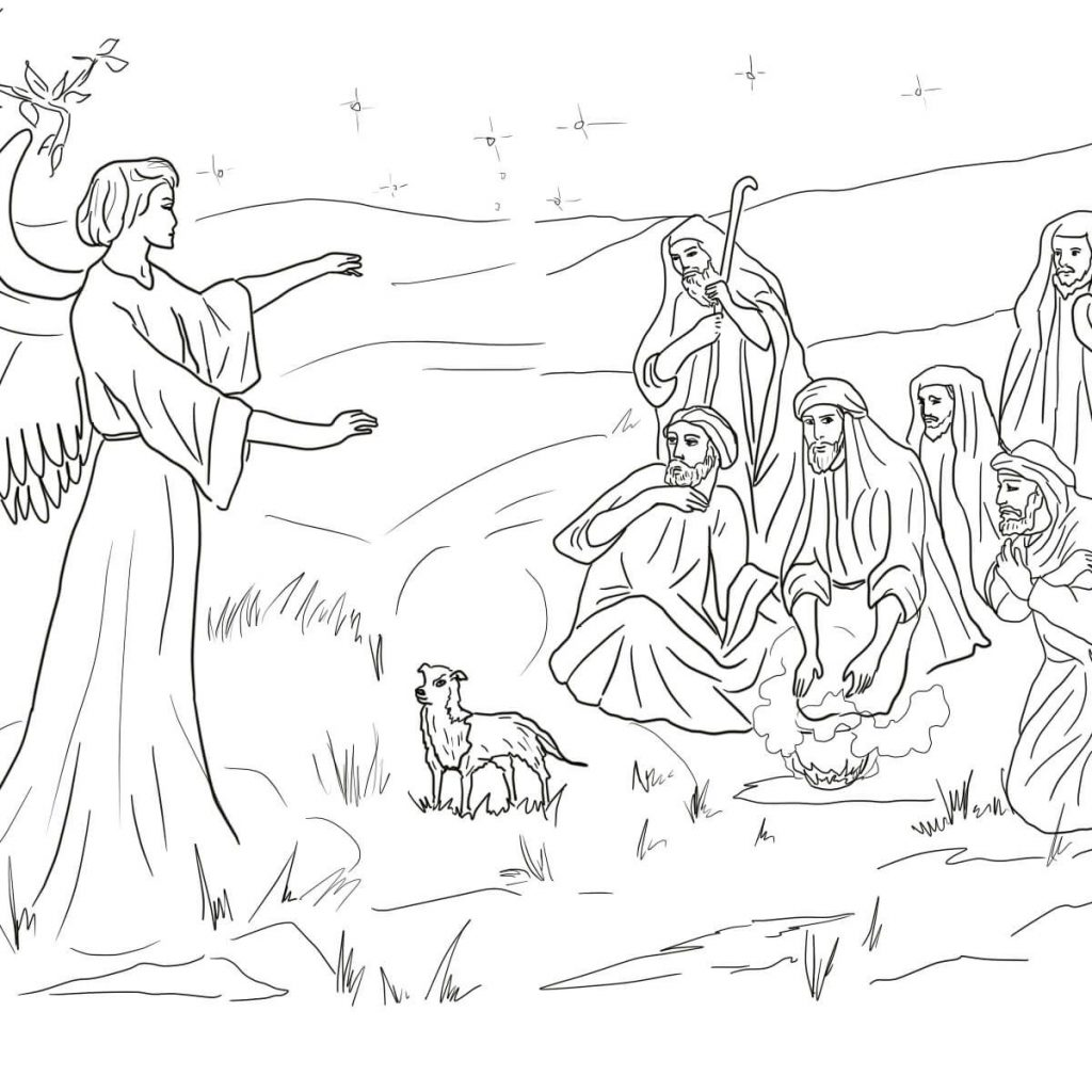 Christmas Coloring Pages Shepherds With And Angels Google Search Branches