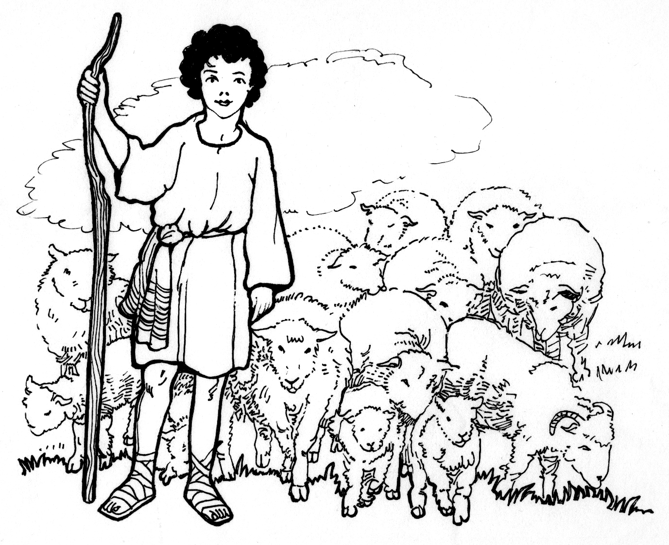 Christmas Coloring Pages Shepherds With David The Shepherd Boy