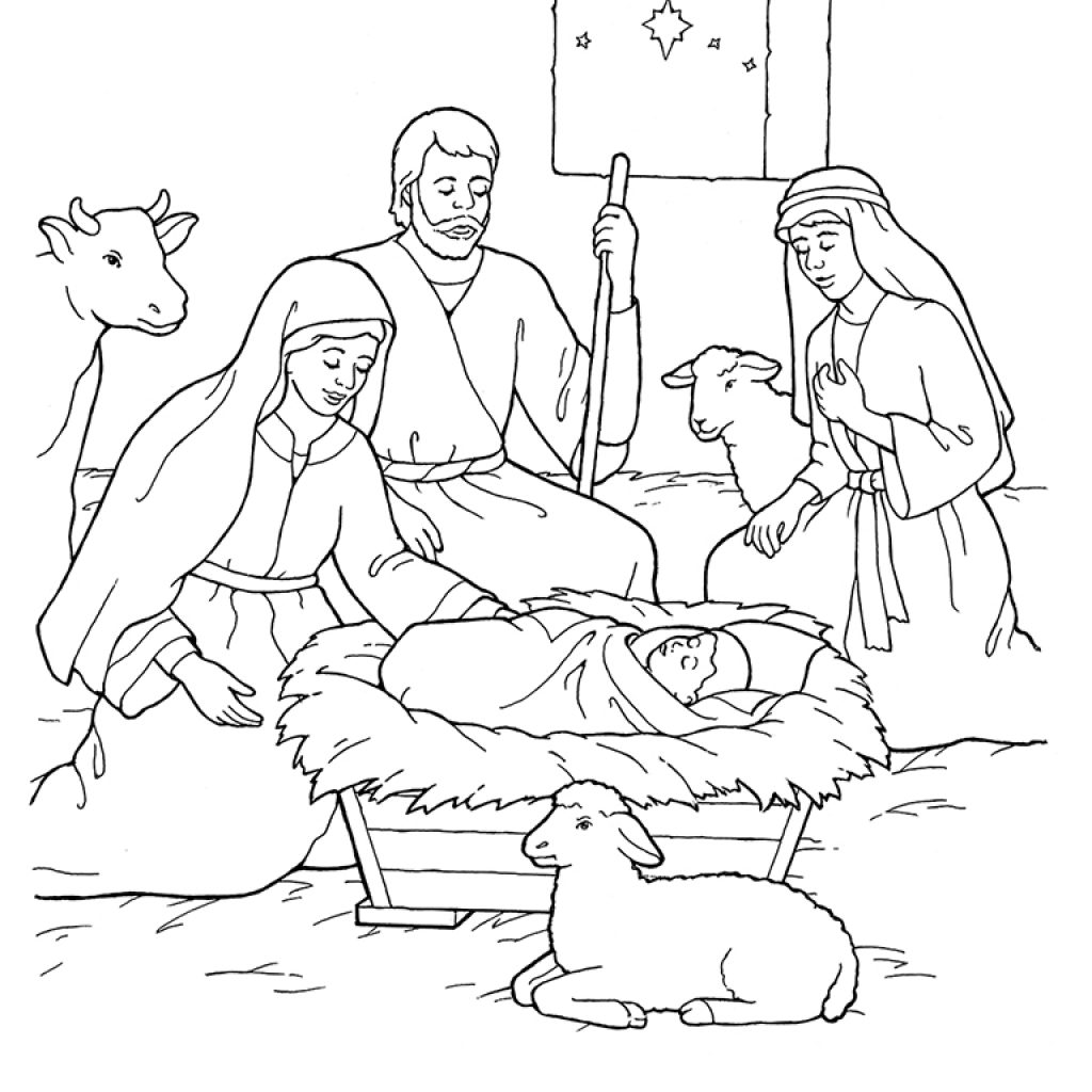 Christmas Coloring Pages Shepherds With Nativity Mary Joseph Jesus And The