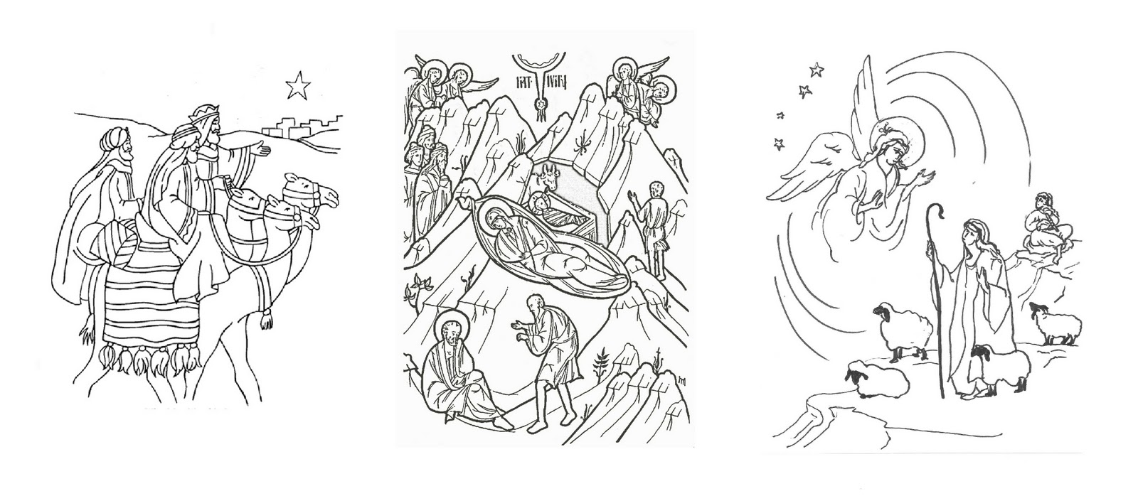 Christmas Coloring Pages Shepherds With Orthodox Christian Education Symbolism