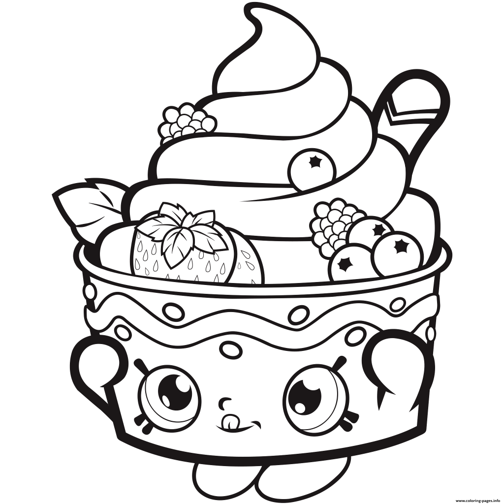 Christmas Coloring Pages Shopkins With Icecream Strawberry Printable
