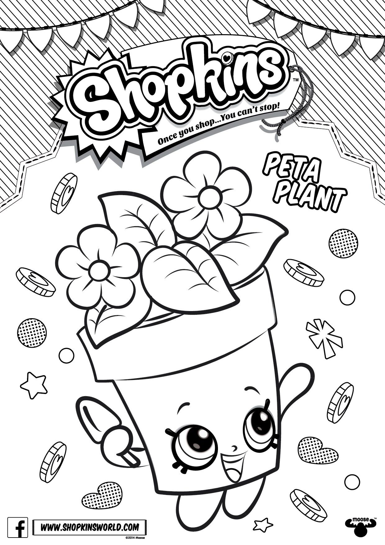 Christmas Coloring Pages Shopkins With Season 4 Peta Plant Printables Pinterest