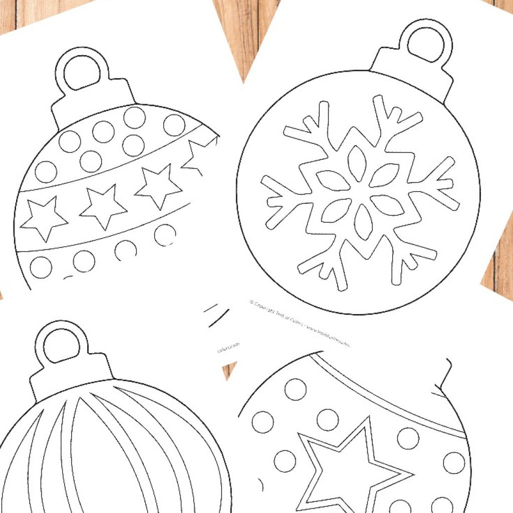Christmas Coloring Pages Simple With Ornaments Page For Kids Trail Of Colors