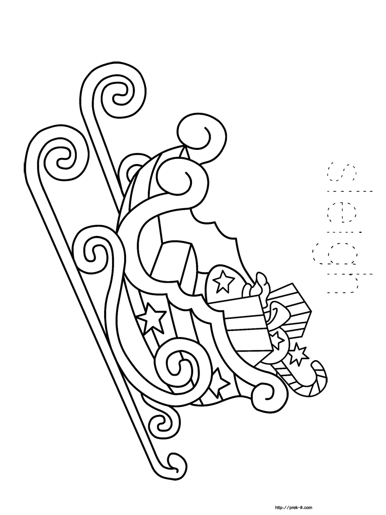 Christmas Coloring Pages Sleigh With Book For Kids