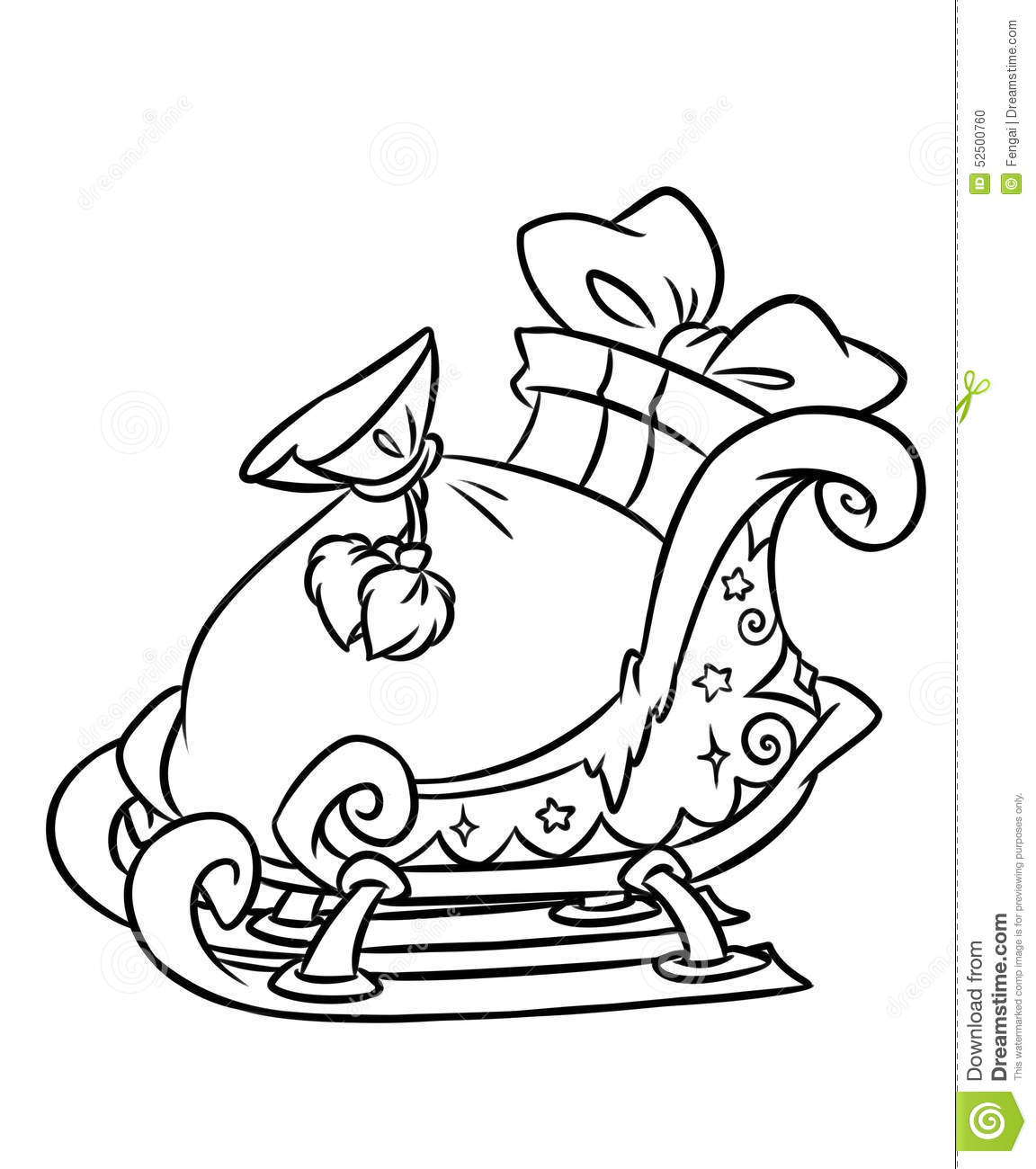 Christmas Coloring Pages Sleigh With Gifts Page Stock Illustration