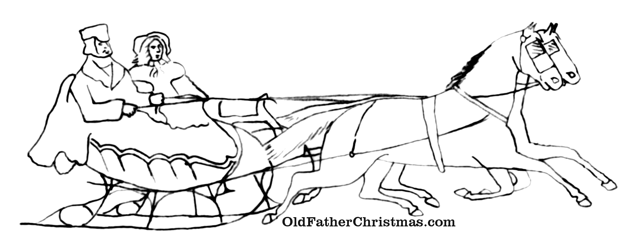 Christmas Coloring Pages Sleigh With How To Draw Horse Page 2 Http Co Uk S