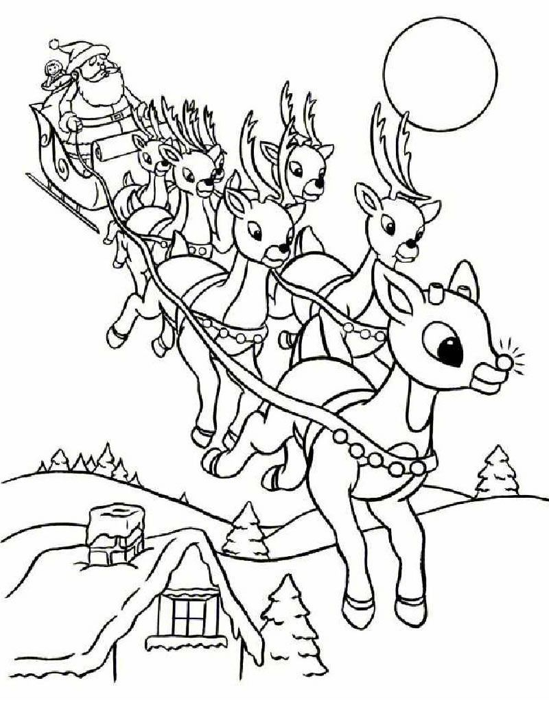 Christmas Coloring Pages Sleigh With Rudolph And Santa Page Pinterest