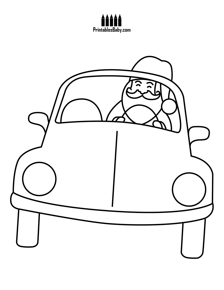 Christmas Coloring Pages Sleigh With Santa Car Printables Baby Free Printable Posters And
