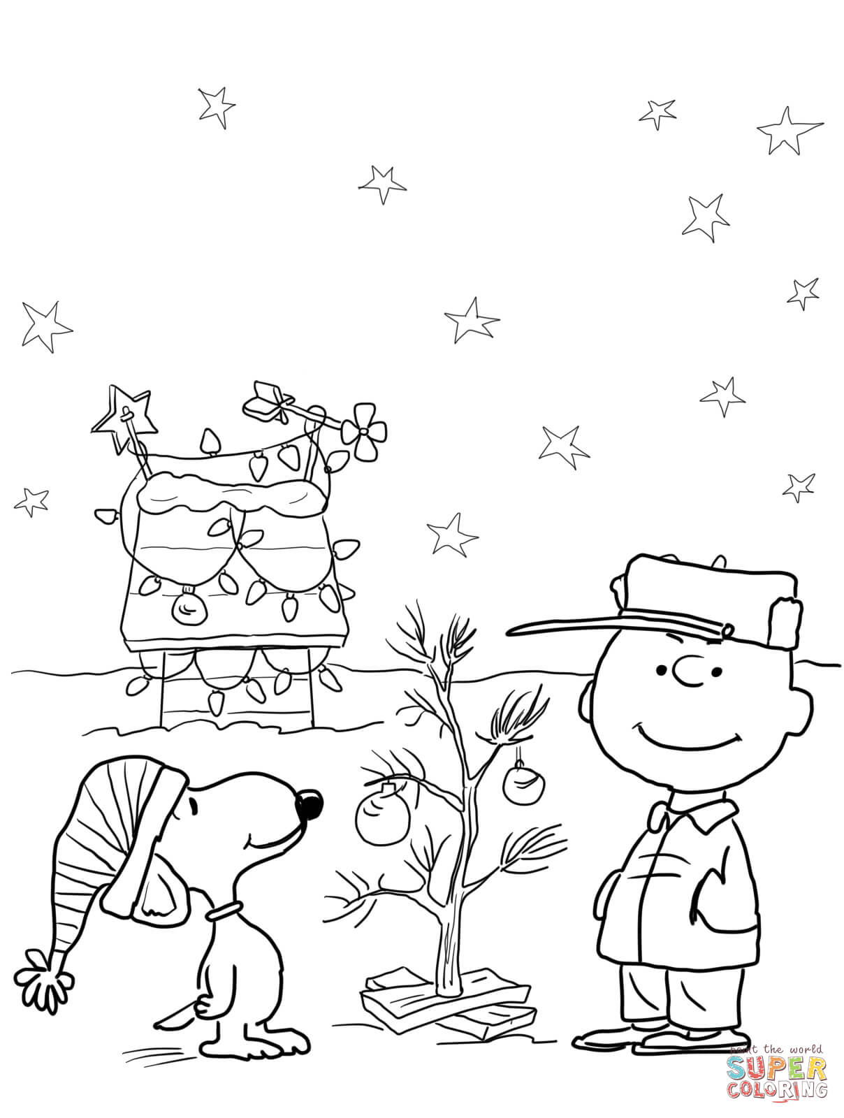 Christmas Coloring Pages Snoopy With Charlie Brown Page Free Printable