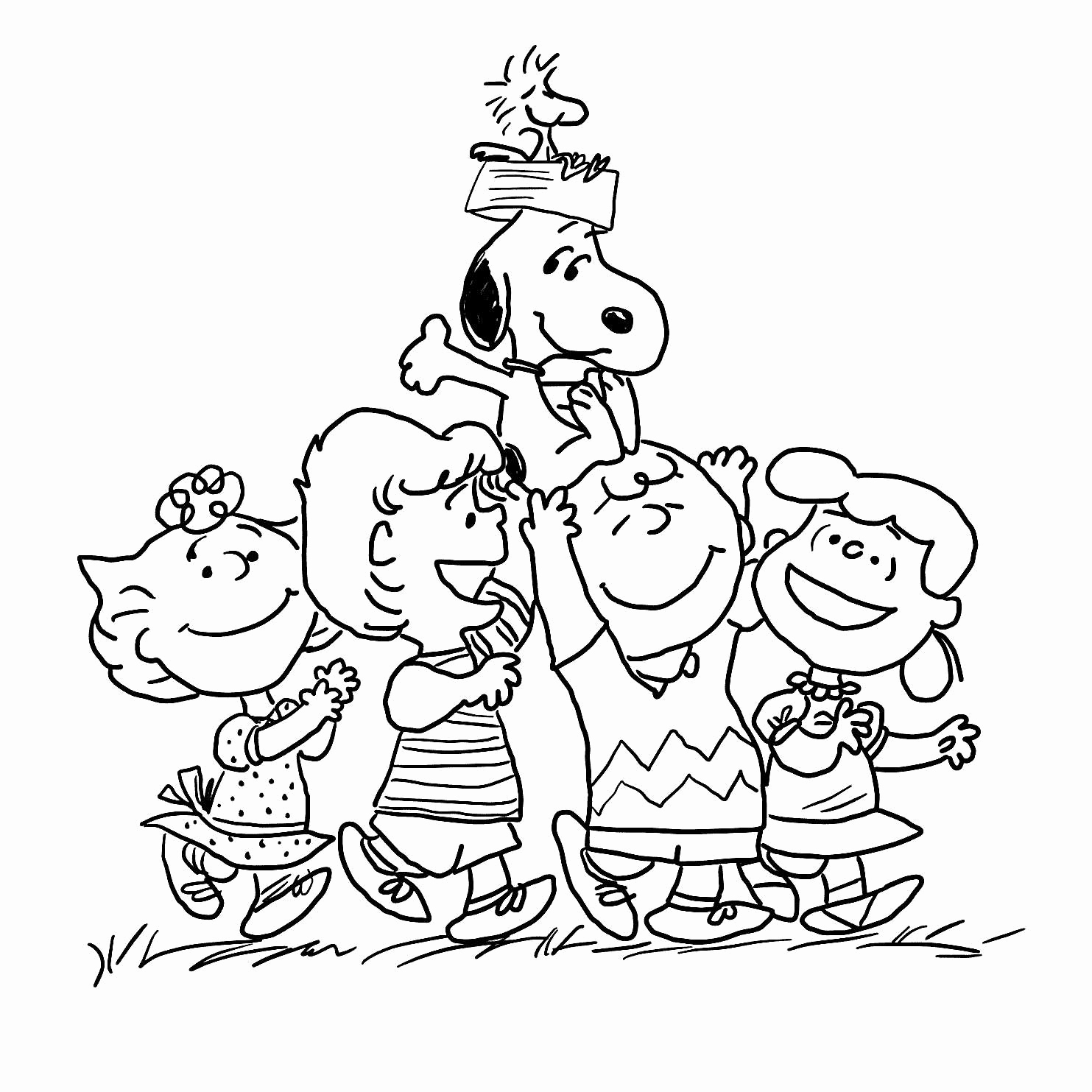 Christmas Coloring Pages Snoopy With Thanksgiving Page Printable New Charlie Brown