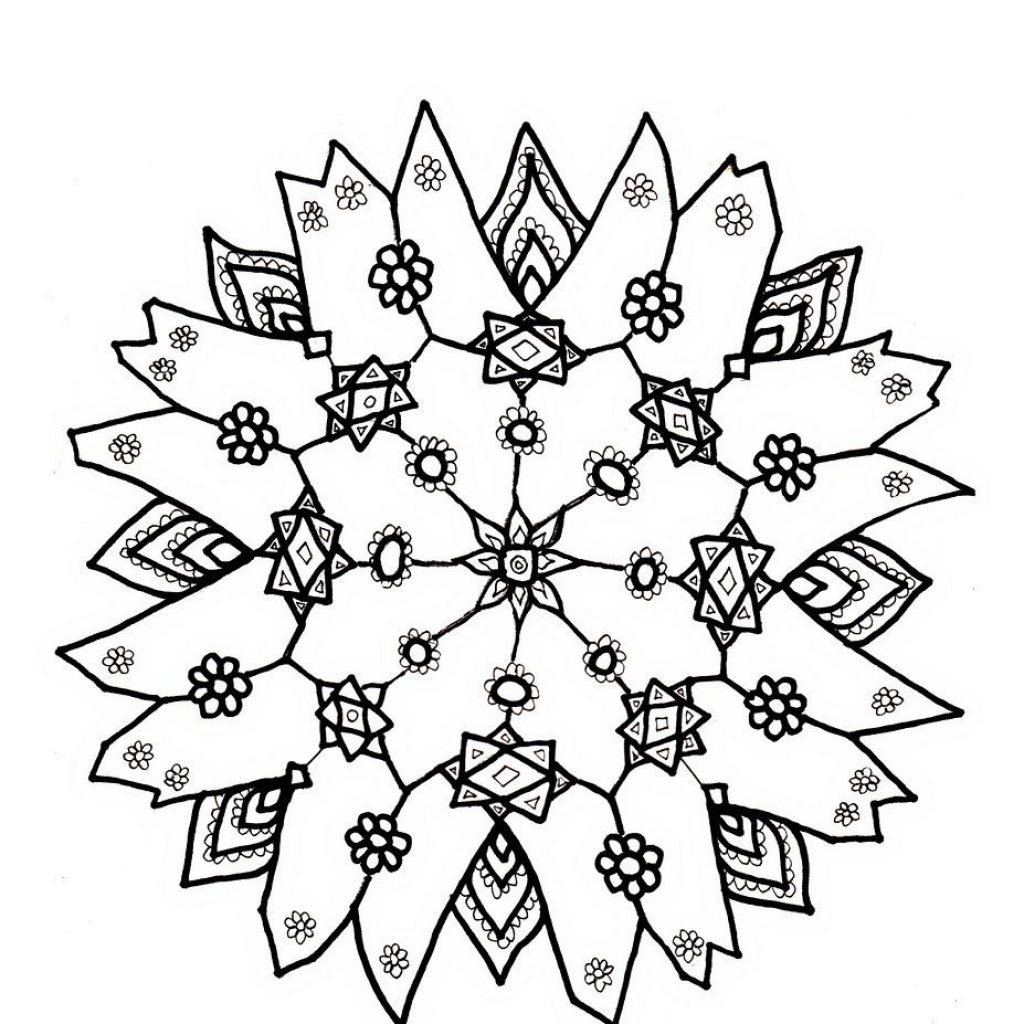 Christmas Coloring Pages Snowflakes With Detailed For Adults