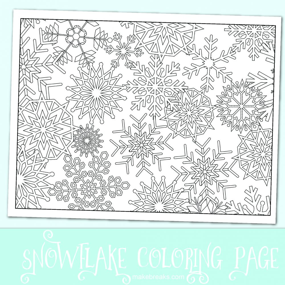 Christmas Coloring Pages Snowflakes With Free Snowflake Page Make Breaks