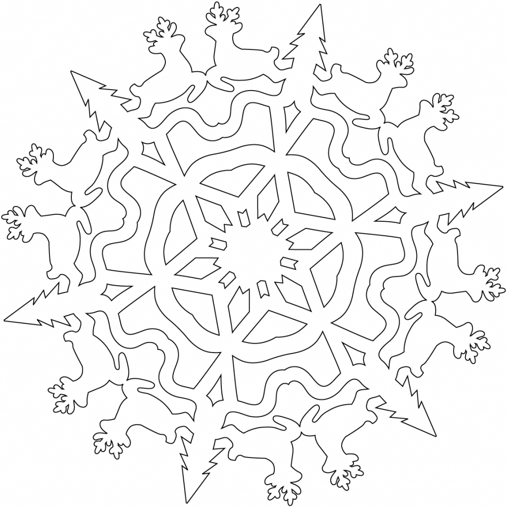 Christmas Coloring Pages Snowflakes With Snowflake Reindeers Page Free Printable