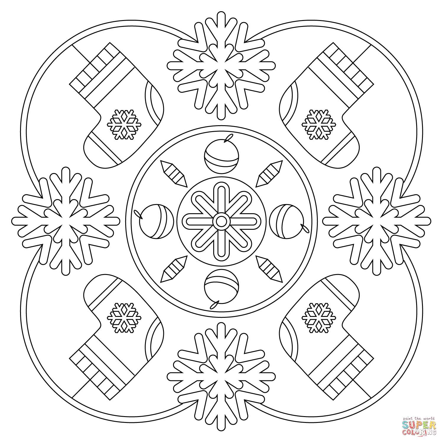 Christmas Coloring Pages Snowflakes With Snowflake