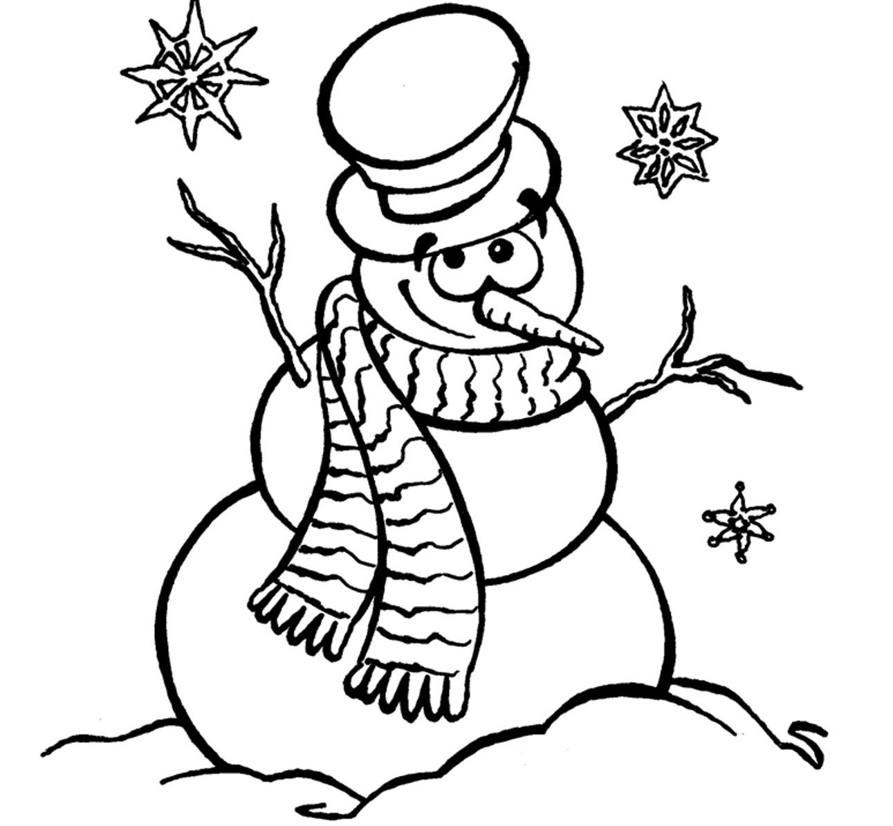 Christmas Coloring Pages Snowman With Cute 2161787
