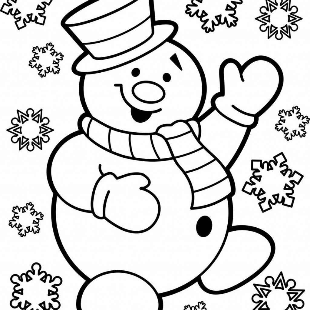 Christmas Coloring Pages Snowman With Download Free Printable Clipart