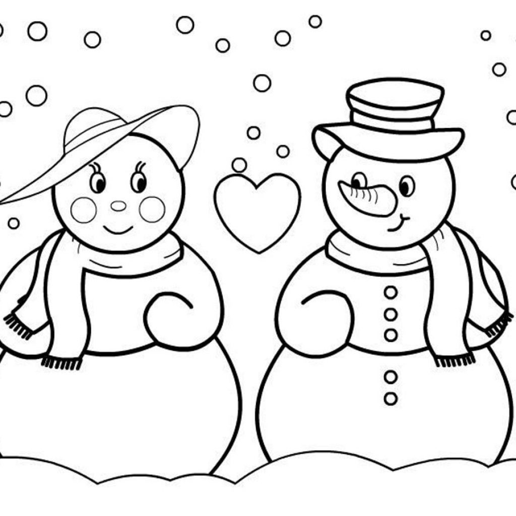 Christmas Coloring Pages Snowman With Free And Printable