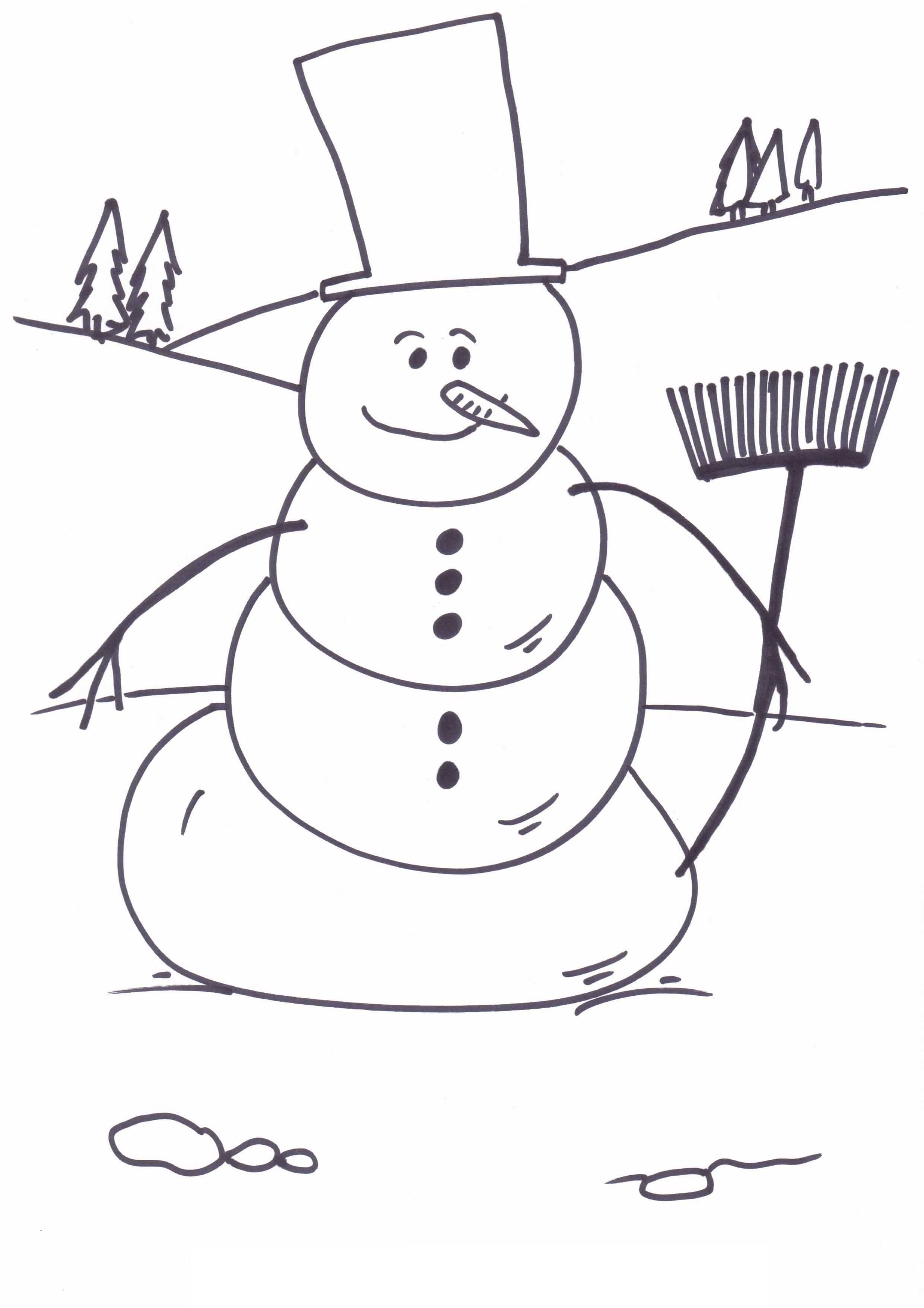 Christmas Coloring Pages Snowman With Free Printable For Kids