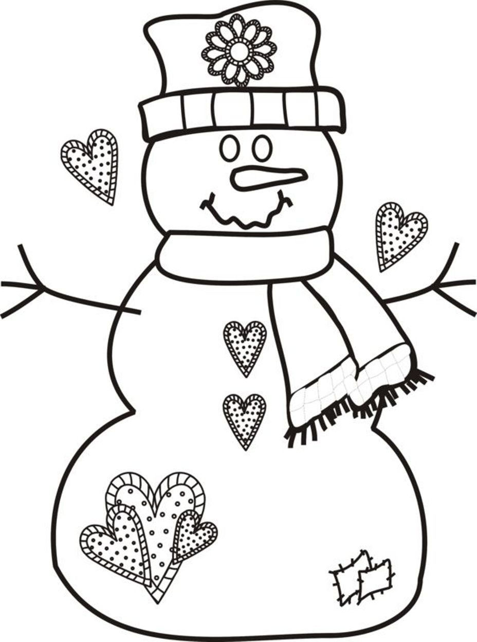 Christmas Coloring Pages Snowman With Unique Cartoon Design Printable
