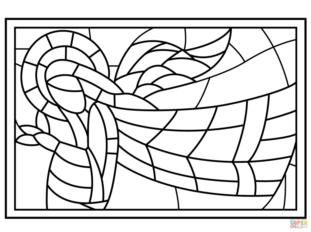 Christmas Coloring Pages Stained Glass With Angel Page Free Printable