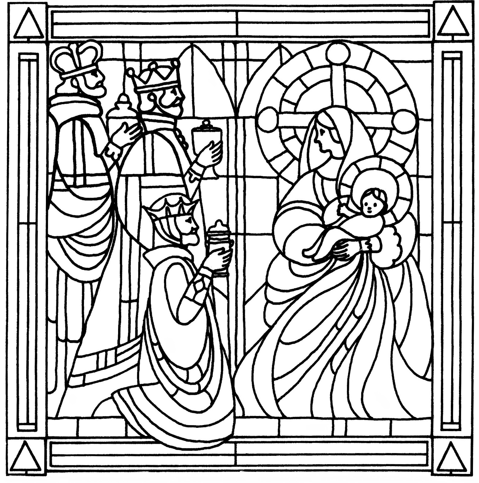 Christmas Coloring Pages Stained Glass With Free Books