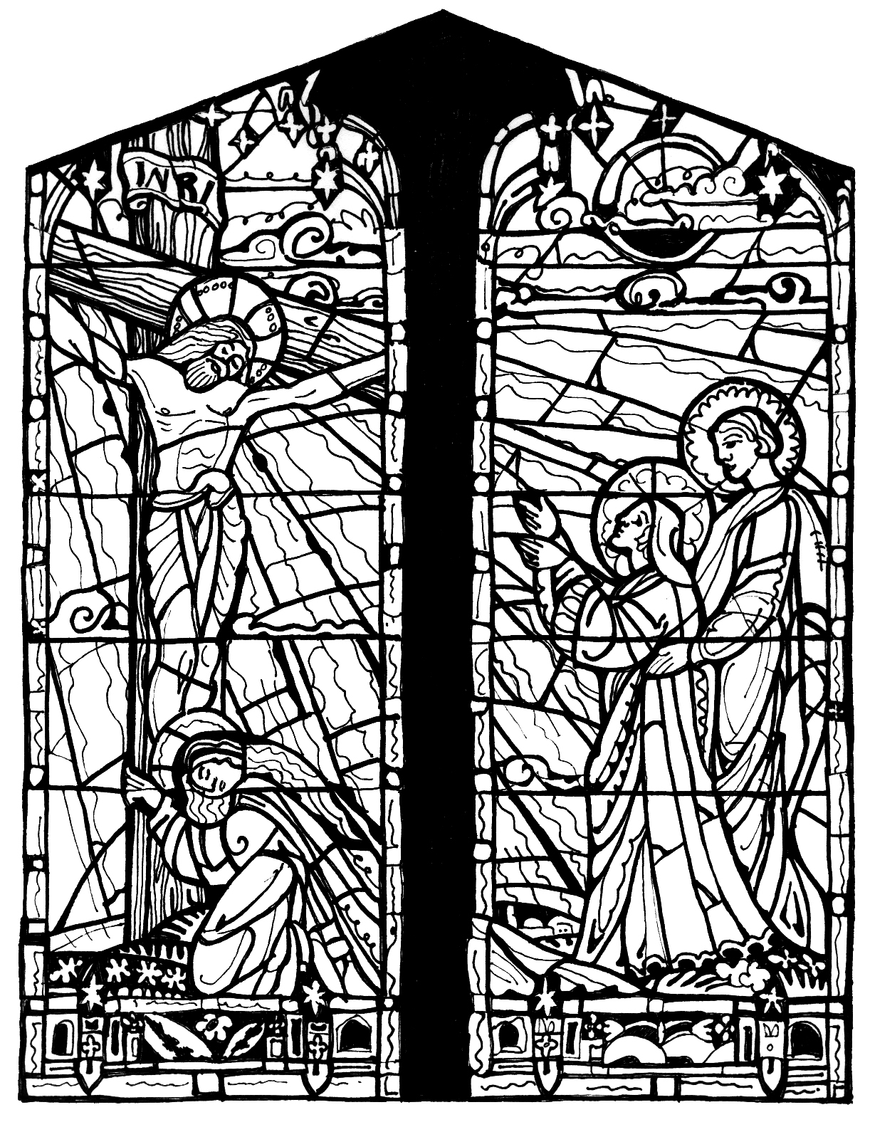 Christmas Coloring Pages Stained Glass With Woman Behold Your Son Free Printables For Kids