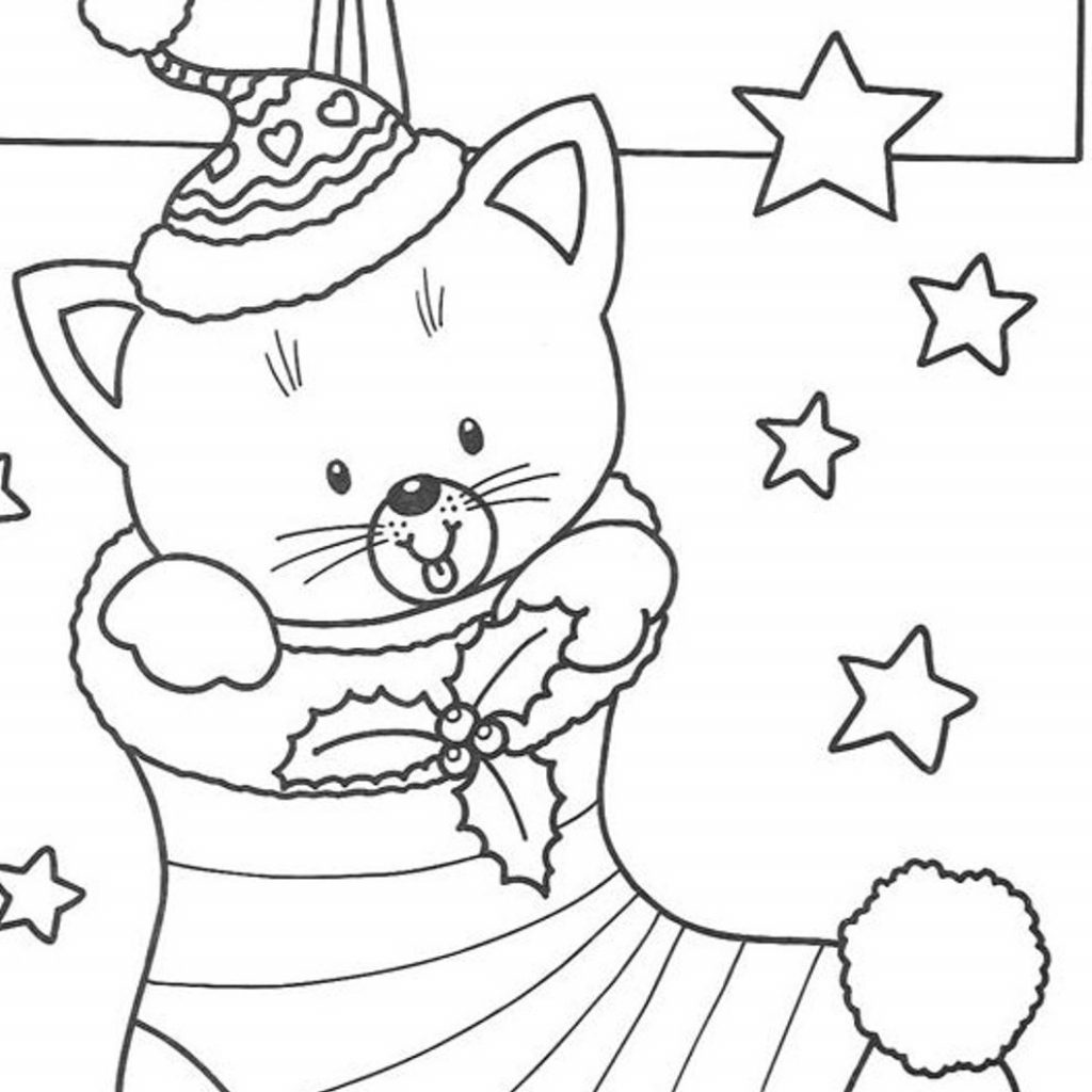 Christmas Coloring Pages Stocking With Cat Page Free In