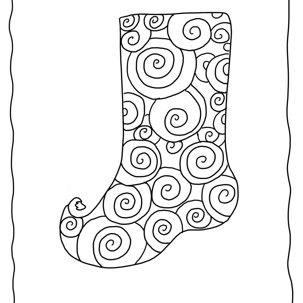 Christmas Coloring Pages Stocking With Free To Color Swirl Pattern