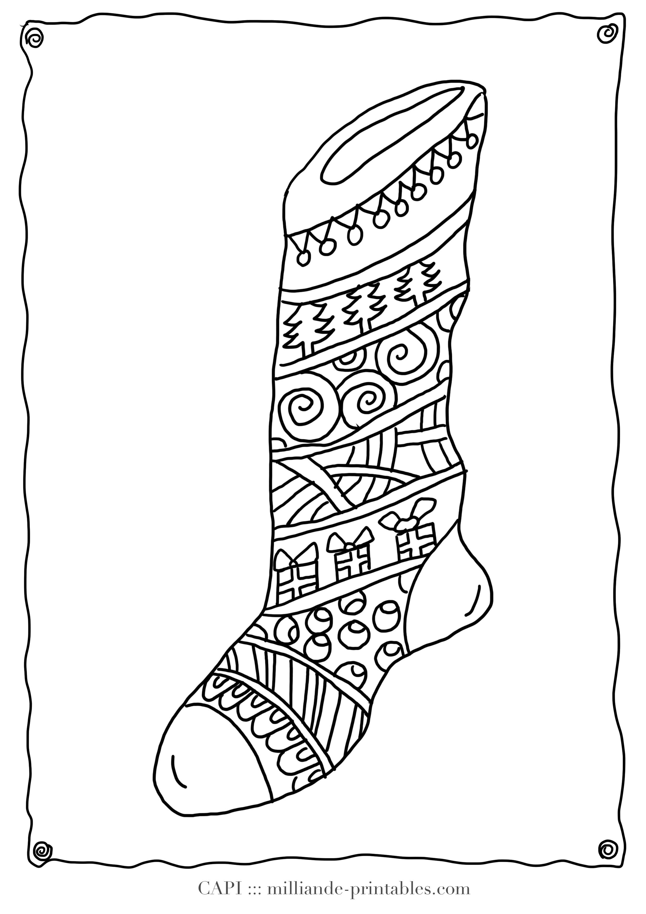 Christmas Coloring Pages Stocking With Page Milliande S Original Free