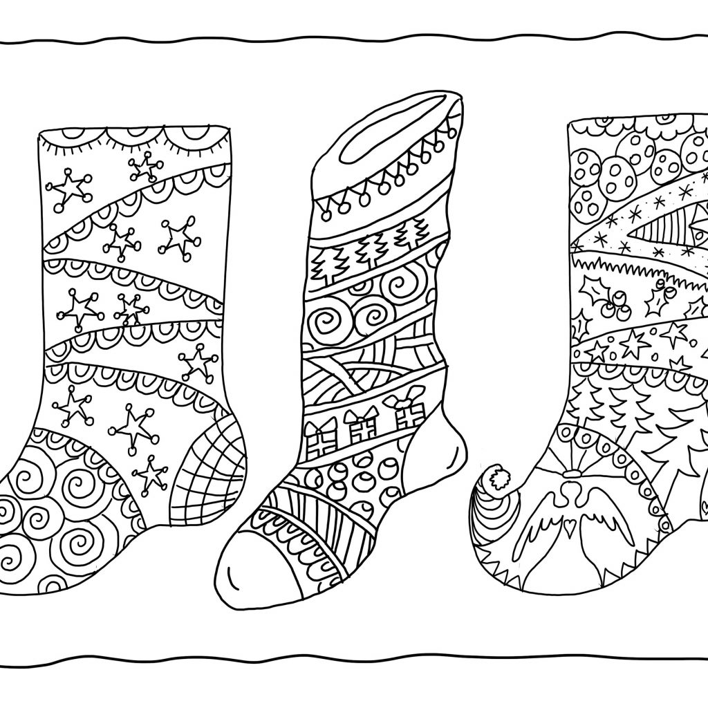 christmas-coloring-pages-stocking-with-plain-for-kids
