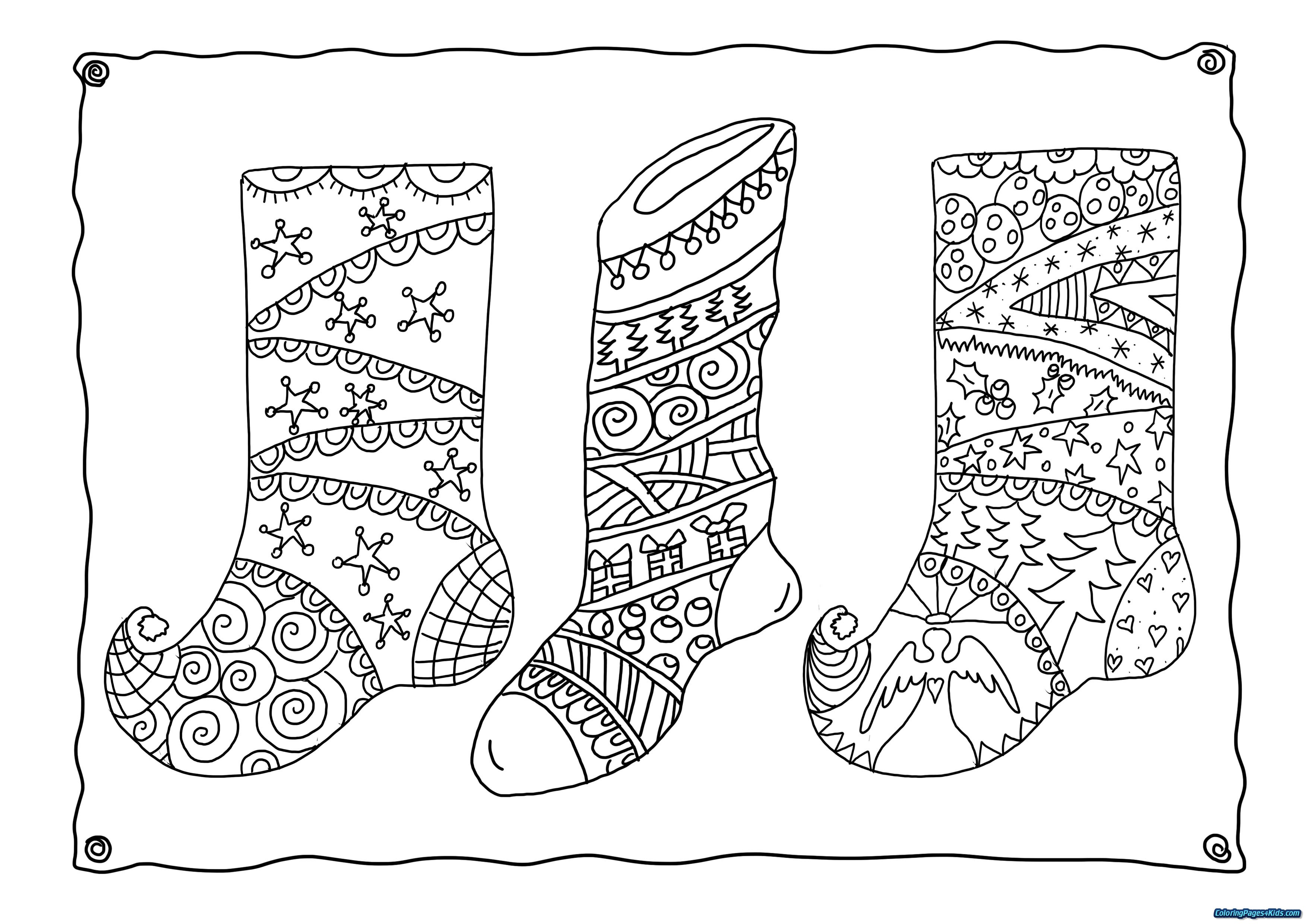 Christmas Coloring Pages Stocking With Plain For Kids
