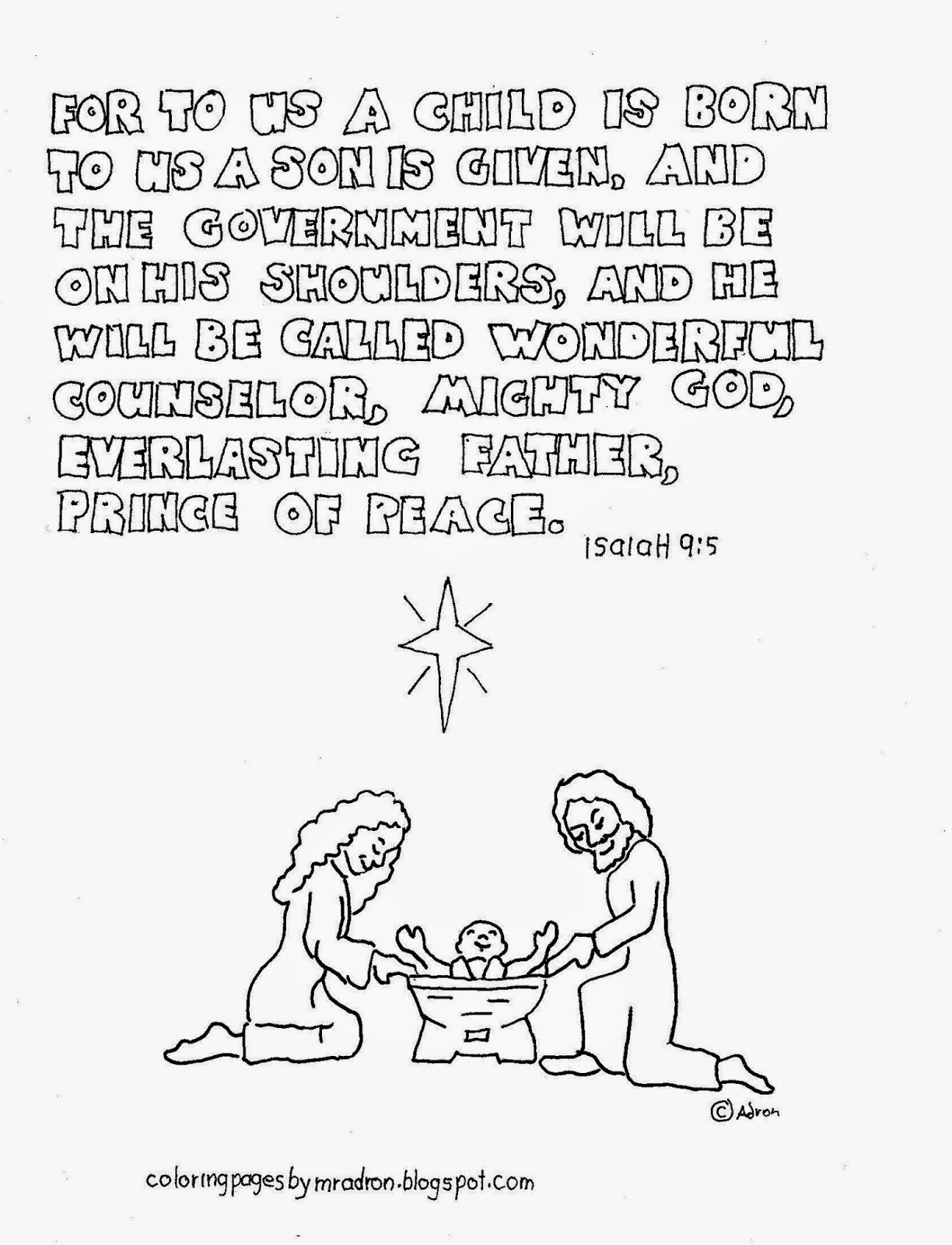 Christmas Coloring Pages Sunday School With For Kids By Mr Adron Printable Bible