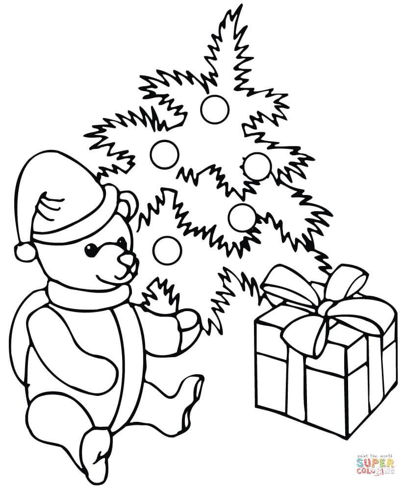 Christmas Coloring Pages Supercoloring With Decorated Tree A Teddy Bear And Gift Box Super
