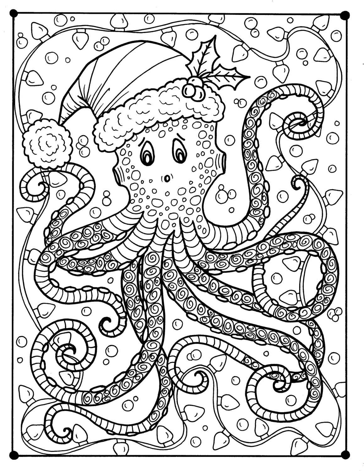 Christmas Coloring Pages That You Can Color With Octopus Page Adult Holidays Beach Etsy