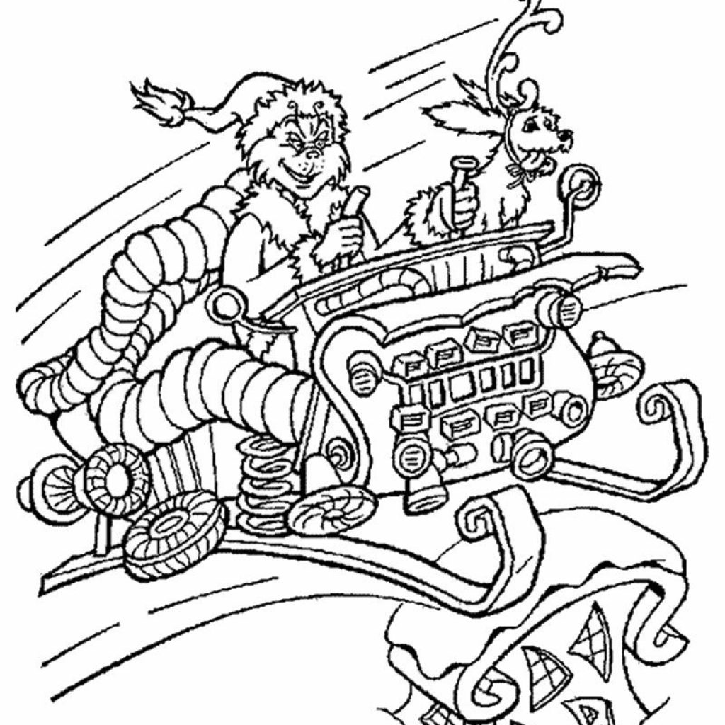 Christmas Coloring Pages The Grinch With In Sleigh Page