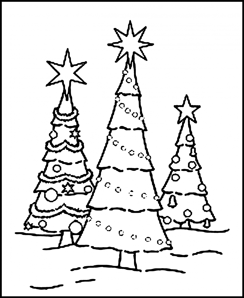 Christmas Coloring Pages Tree With Blank Free Printable