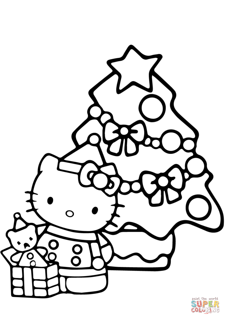 Christmas Coloring Pages Tree With Hello Kitty Page Free Printable