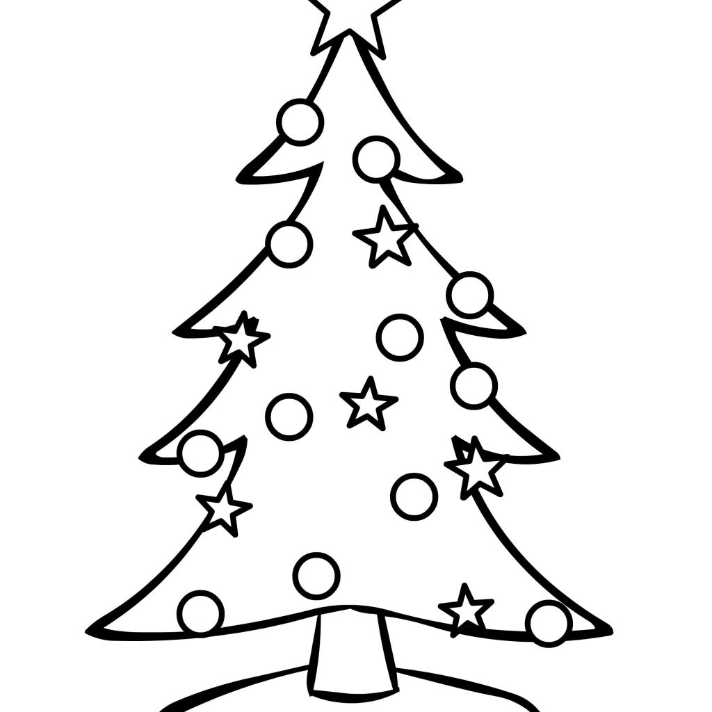 Christmas Coloring Pages Tree With Online Ornaments Amazing Merry