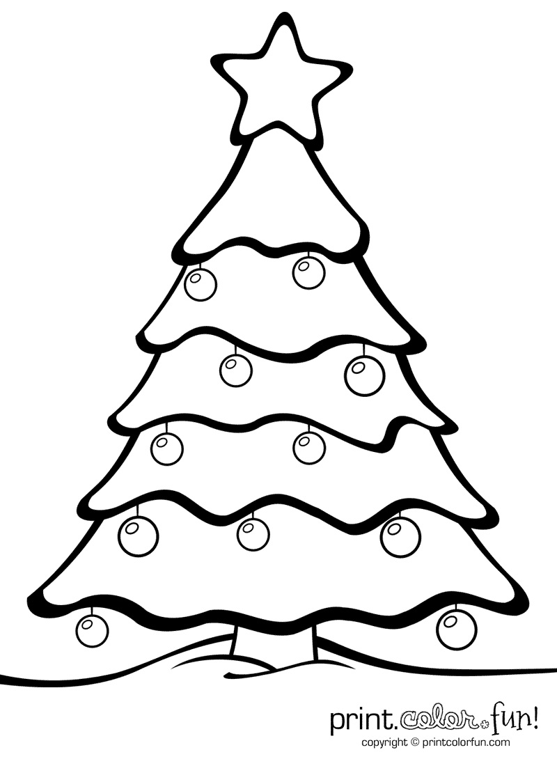 Christmas Coloring Pages Tree With Ornaments Print Color Fun Free Printables
