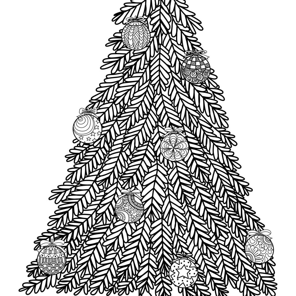 Christmas Coloring Pages Trees With Tree Zentangle Style Balls And A Big Star For