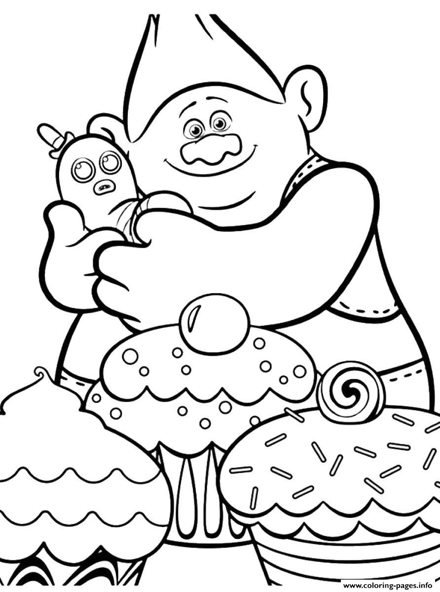 Christmas Coloring Pages Trolls With Movie Cupcakes Printable