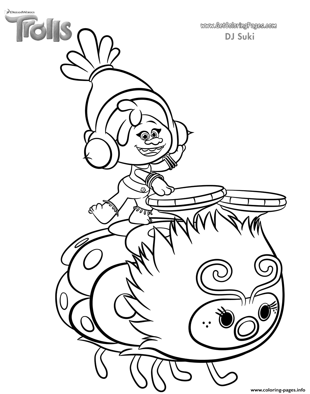 Christmas Coloring Pages Trolls With Print DJ Suki Of Movie Mixed Stuff 2