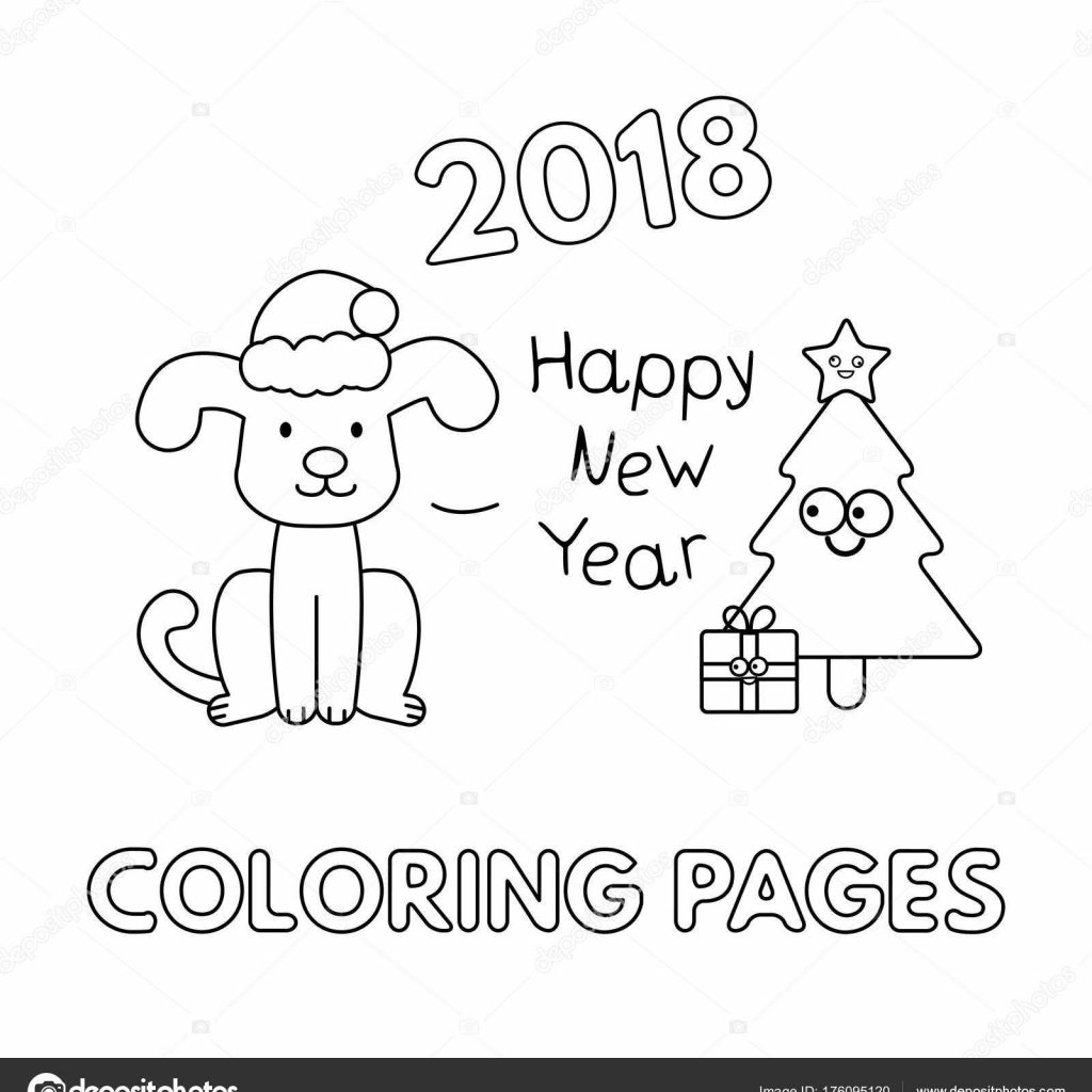 Christmas Coloring Pages Vector With Cartoon Dog Stock