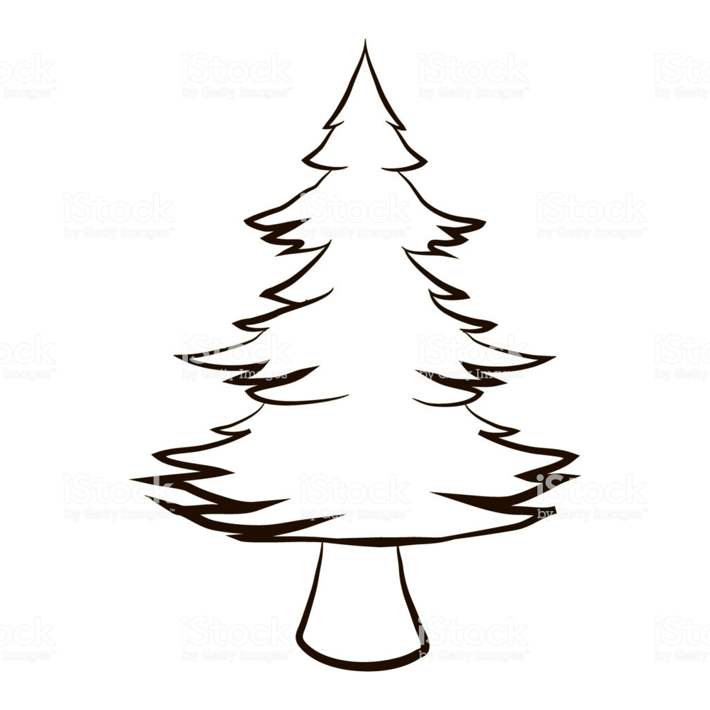 Christmas Coloring Pages Vector With Furry Tree Closeup Cartoon